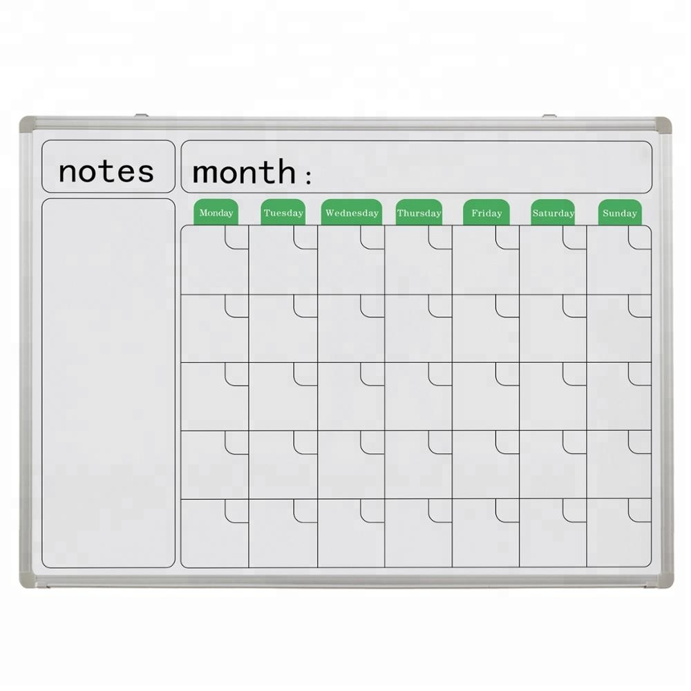 Magnetic Dry Erase Board Printed Writing Monthly Calendar Whiteboard