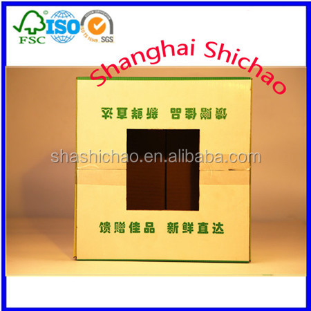Upper shed and color printing fruit box ,like banana ,orange,pear ,mango /Shanghai Shichao