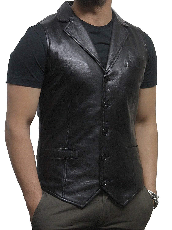 Men/'s Brando Black Suede Waistcoat Motorcycle Biker Style STEAMPUNK Leather 1025