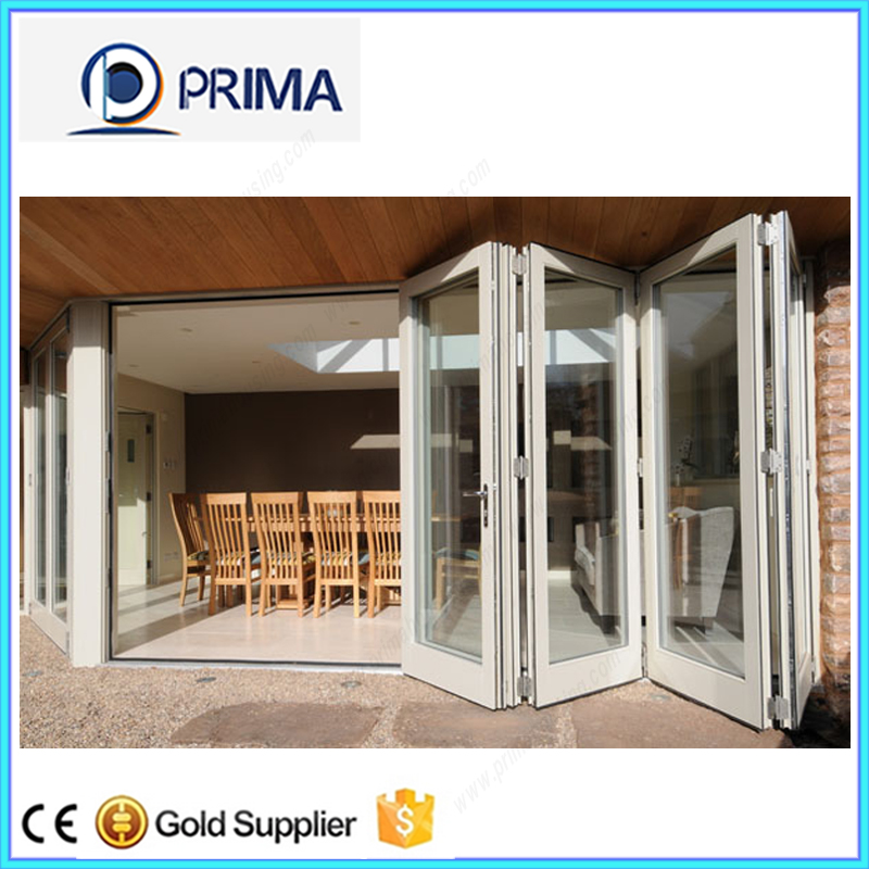 Lobby Entrance Door , Wood Patio Sliding French Folding Door With Clear Frosted Tempered Glass Panel