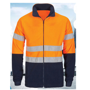 Hi Viz Safety Fleece Jacket Warm Mens Lined Work Coat Workwear Uniform Orange GO/RT 3279