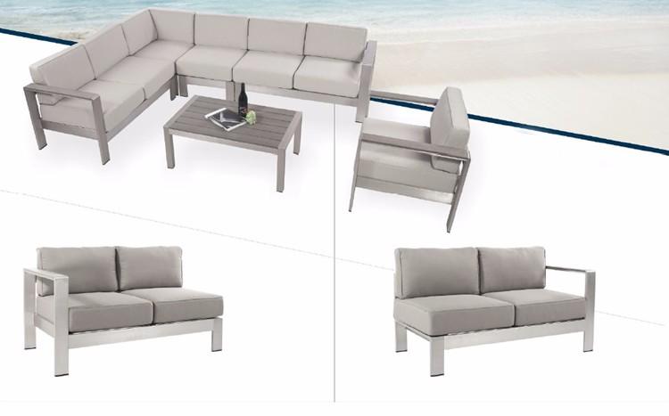 Tuinmeubelen populaire aluminium hoek sofa set ontwerpen sofa cover