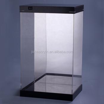 handmade led illuminate acrylic box display case for action figure display wholesale