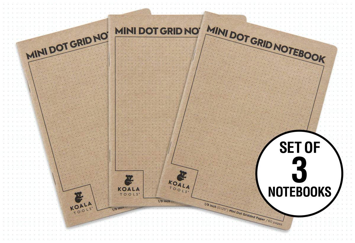 "Koala Tools | Bullet Journal - Mini Dot Grid Notebook (3 Pack) | 5"" x 7"", 60 pp. - Durable Kraft Cover with 1/8"" Dotted Grid"