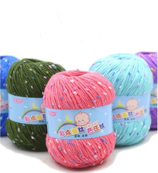 colorful color anti-pilling fibroin silk yarn recycled dyed cotton blended yarn