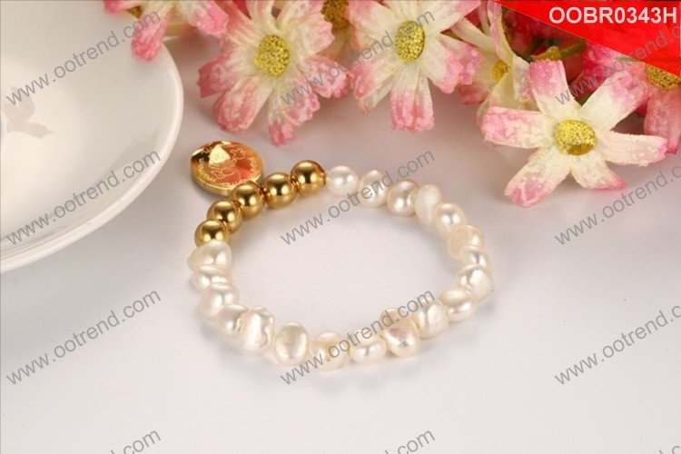 Mother's Day Gift pearl and s.steel beads bracelet
