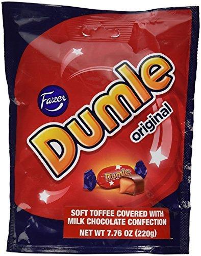 Fazer Dumle Original Soft Toffee Covered with Milk Chocolate 220g Bag (Pack of 2)