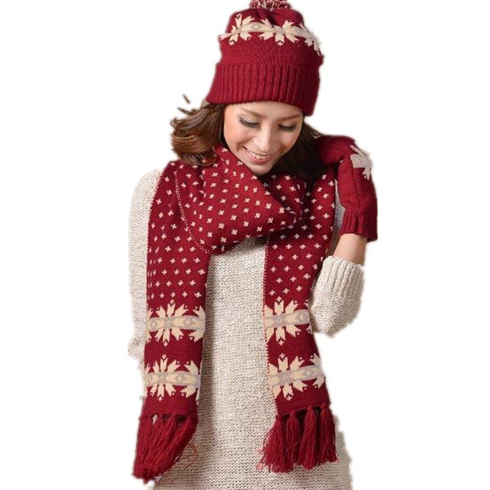 bd5880fe795 Get Quotations · Winter Fashion Warm Faux Fur Inserted Velvet Hoodie  Knitted Hat scarf Set Long Hat Cap with Mitten
