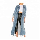 Hot sale women custom frayed hem denim trench coat