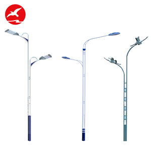 Hot Sale Round Bending 8 - 12M Galvanized Steel Pipe Single Arm Ip65 Outdoor Street Light Pole