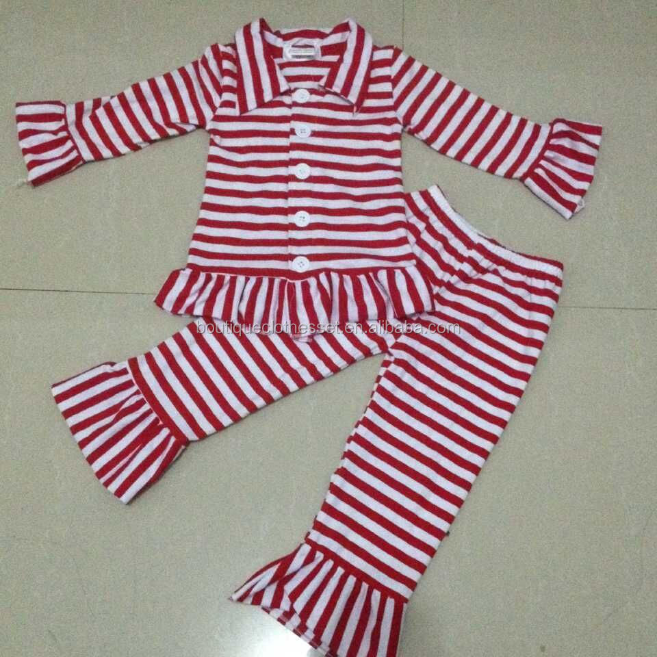 Wholesale Infant Christmas Pajamas Clothes Cute Jacket With Ruffle ...