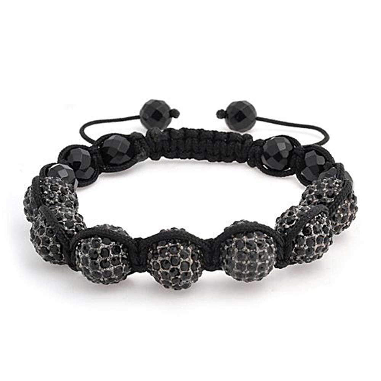 c90d1fe03ad4 Get Quotations · Black Crystal Onyx Beads Shamballa Inspired Bracelet