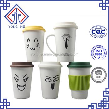 Large Coffee Mug Tall Funny Cute Emoji Travel With Silicone Lid Yonghe Take To