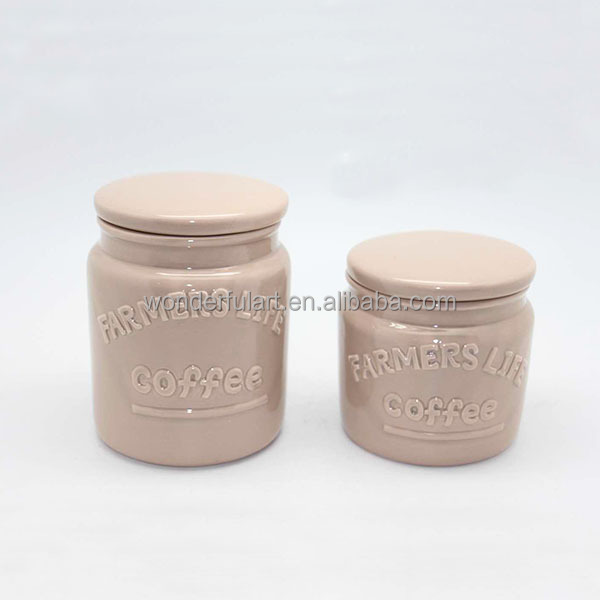 Creative Set of 2 Sugar Coffee Tea Ceramic Spice Jar Enamel ceramic Containers with Lids Set