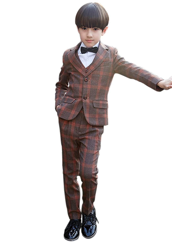 SK Studio Boys' 5 Pieces Dress Wedding Shirt Pants Vest Tie Suits