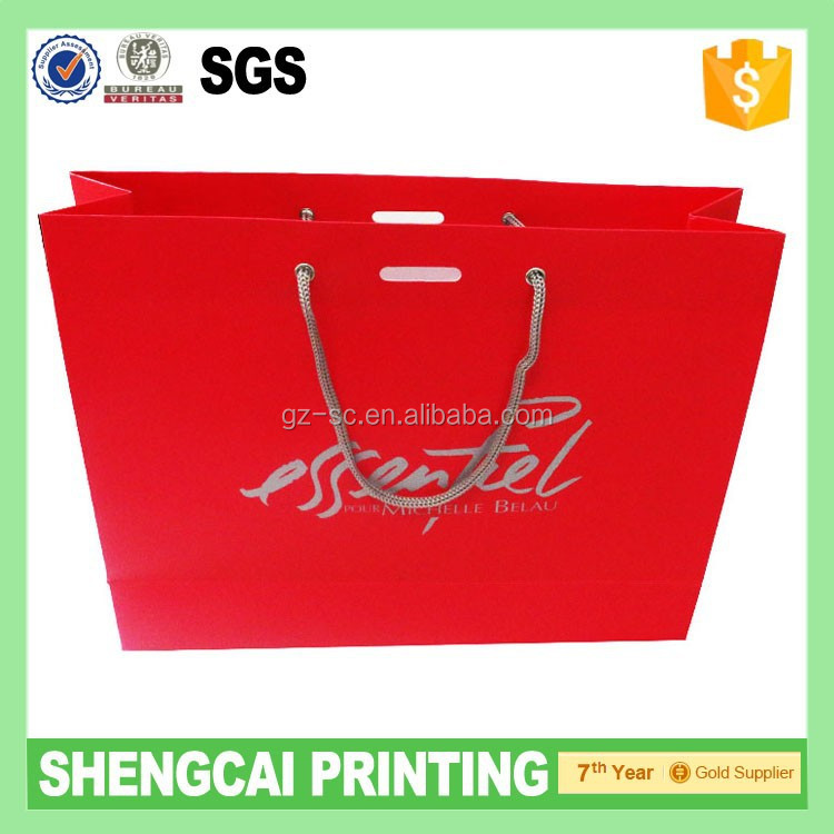 Bright Red color paper bag for peru market