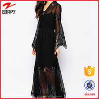 2016 New Design Women Long Chiffon And Lace Evening Dress Black Maxi Dress For Ladies