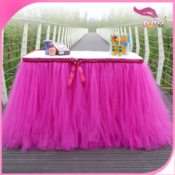 Wholesale Hot Pink Tulle Table Skirt With Dot Ribbon Border Wedding And Celebration Supplies