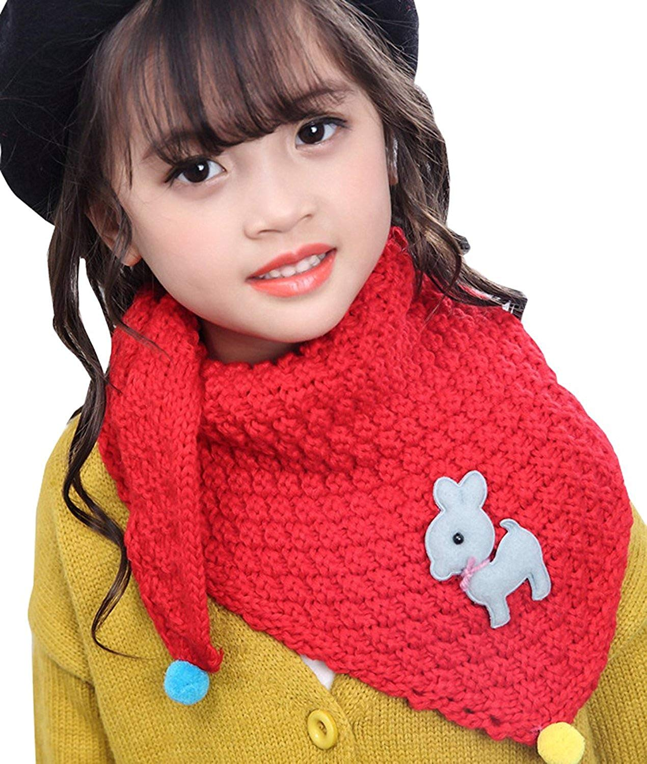 Kids Girls Winter Warm Thick Cable Knit Scarf Fashion Toddler Soft Triangle Scarves