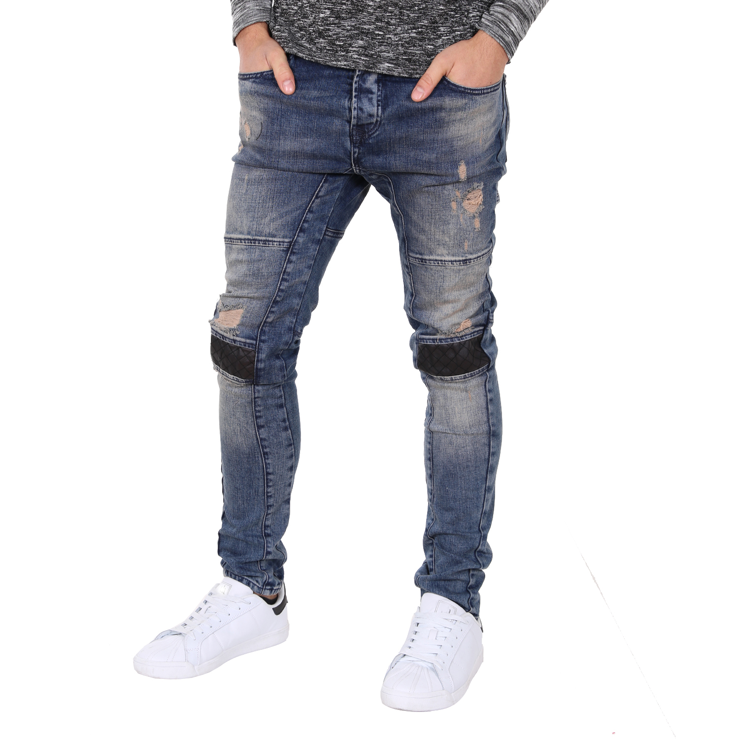 Fashion street style striped men's denim trousers cool ripped jeans with leather knee