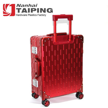 Red Simple Decorative Maleta De Aluminum Frame Trolley Suitcase With Wheels