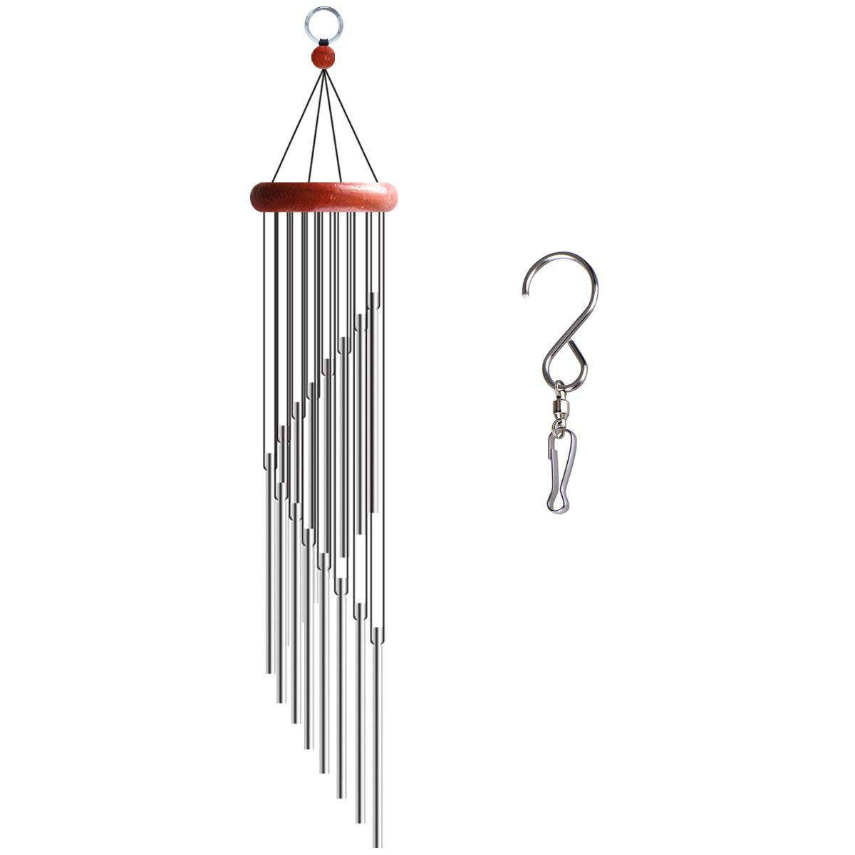 Chasgo Mini Wind Chime Outdoor Indoor-Amazing Grace Memorial Wind Chime Deep Tone with Melody Bells Sounding Musical, Silver