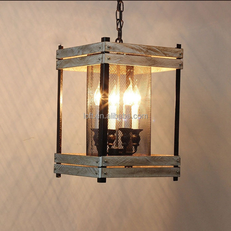 Jahrgang industrie design beleuchtung holz laterne eisen lampe mit ...