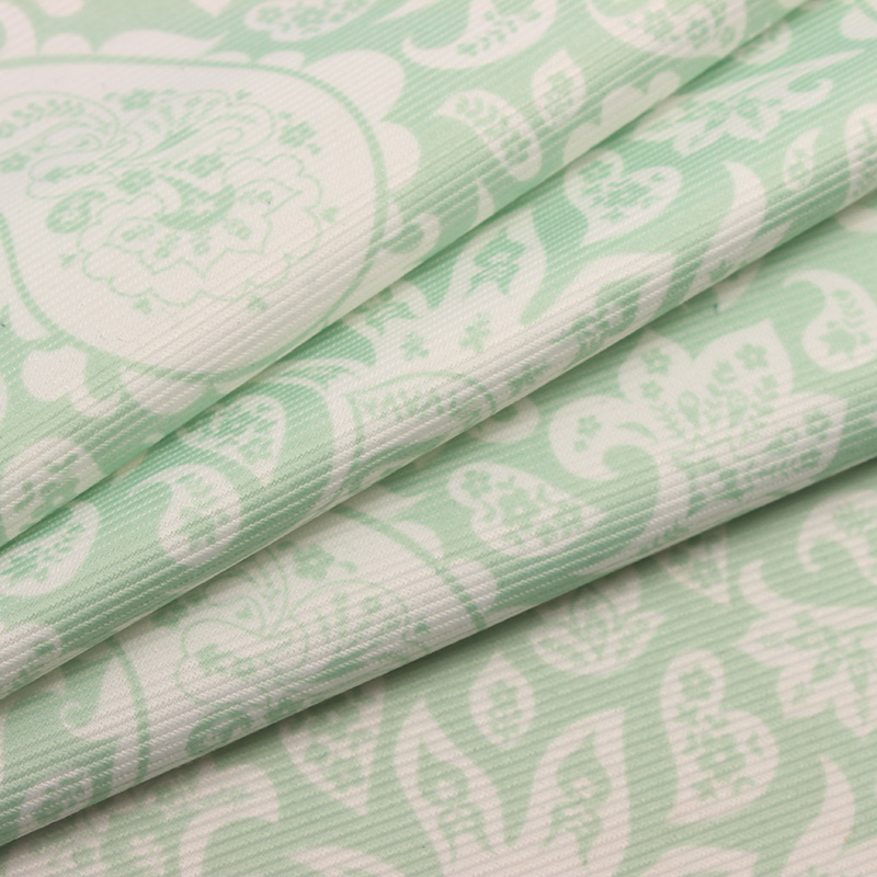 Fashional cordury <strong>fabric</strong> with green pattern printing for home textile