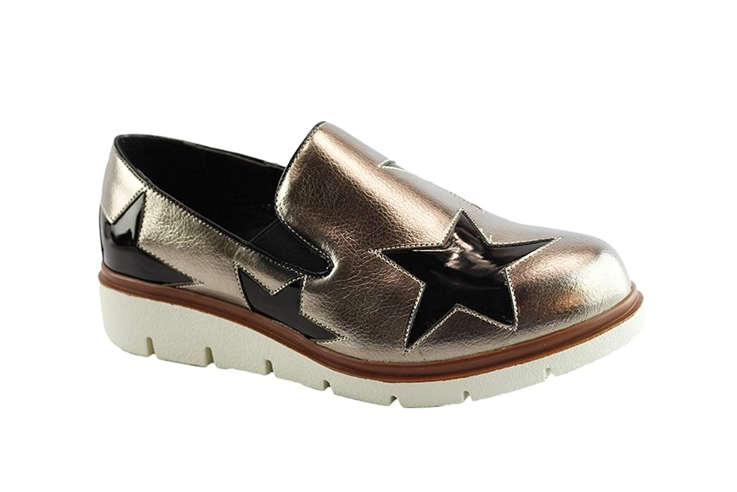4bd575d347 Get Quotations · Liyu Women Star Slip on Side-Gusset Casual Loafer Shoes/Walking  Shoes
