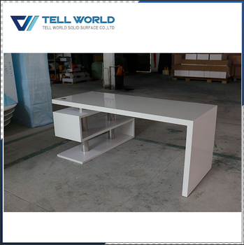 High Tech Computer Desks Acrylic White Glossy Modern Desk Product