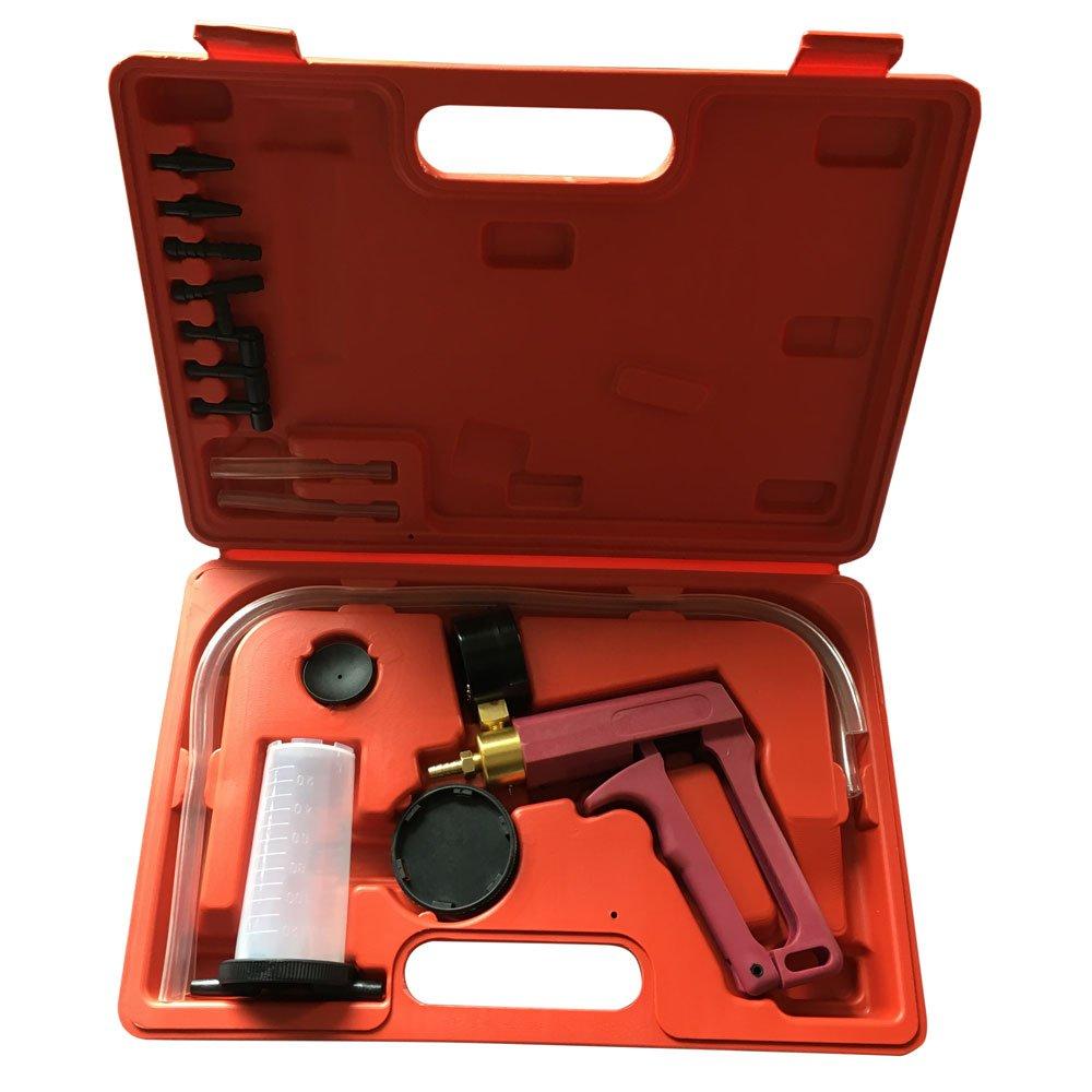 Qp-SUNROAD Hand Held Brake Fluid Bleeder Tester Detector Set and Vacuum Pistol Pump Gauge Kit for Automotive Car Motorbike with Case