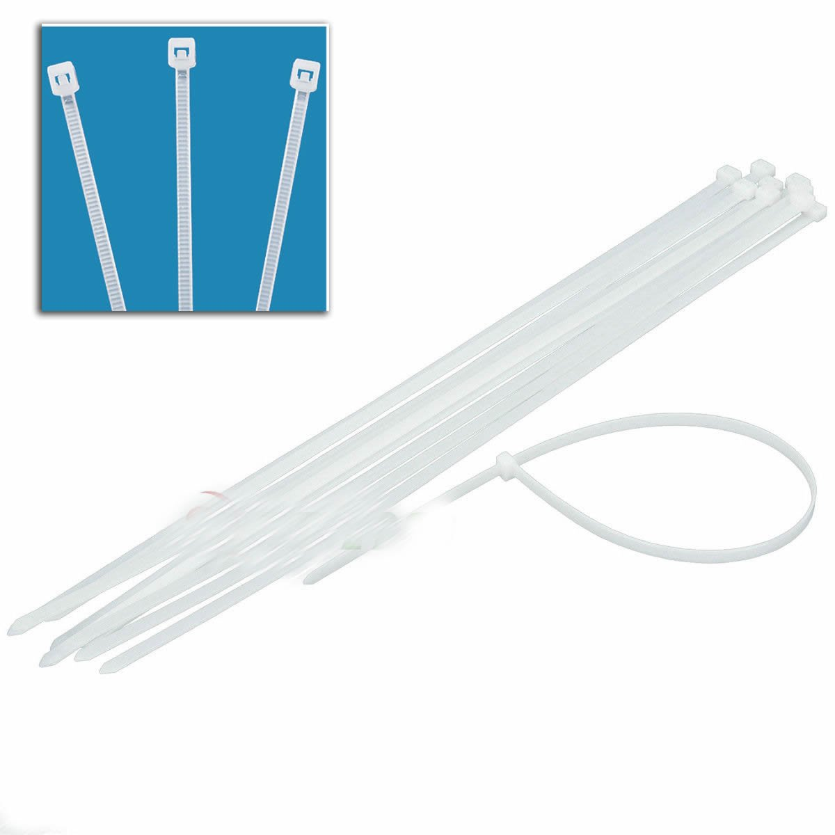 "12pc 28"" White Cable Ties Heavy Duty 165lb 9mm X 28"" Long Zip Ties"