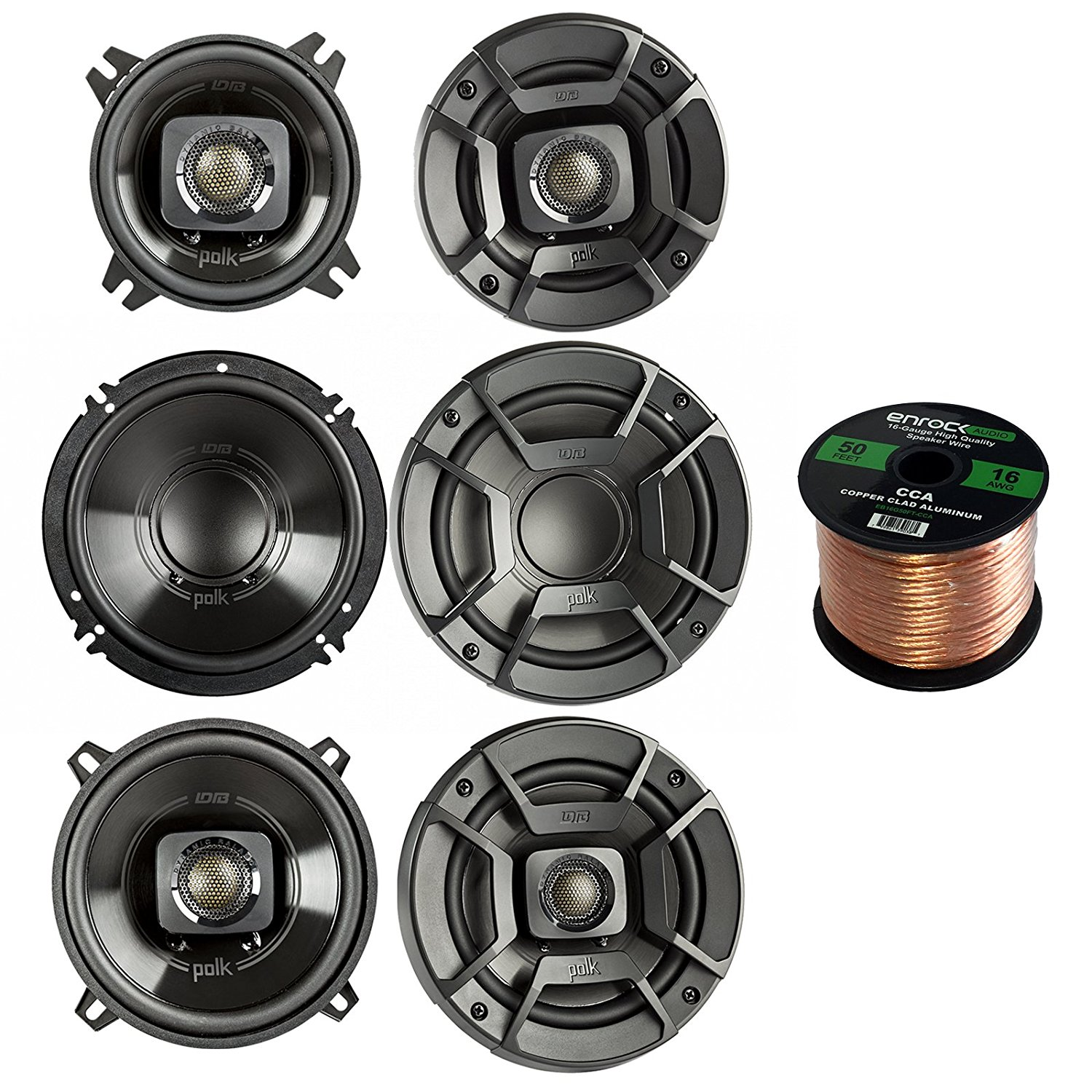 "2x Polk Audio DB522 5.25-Inch 300-Watt 2-Way Speakers, 2x DB6502 6.5"" 300W 2 Way Car/Marine Speakers, 2x Polk Audio DB402 4-inch 135W Coaxial Speakers Black, Enrock 16-Gauge 50 Foot Speaker Wire"
