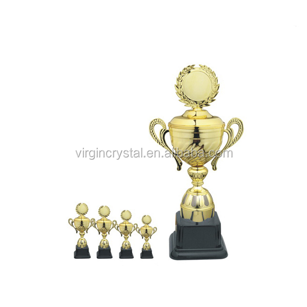 Medal plate top gold cup trophy with black base for sports gifts
