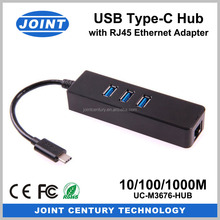 3 Port USB 3.0 Reversible Type-C Hub with 1000M Gigabit RJ45 Ethernet Adapter for New Macbook