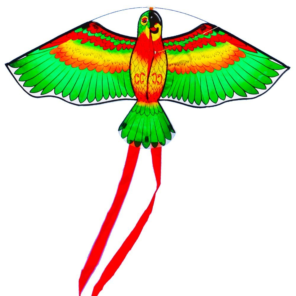 Besra Rainbow Parrot Kite Eagle Bird Kite with Long Tails Outdoor Fun Sports for Beach /& Park