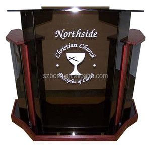 Deluxe Smoke Acrylic Wood Lectern, Lucite Church Pulpit, Plastic Podium