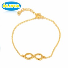 Vintage Men Women Jewelry Bangle Chain Infinity Handcuff Love Gift Cute Bracelet with Gold Tone