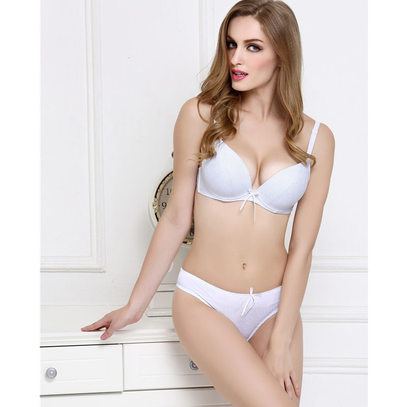 637480ce5e Get Quotations · European Sexy Women Push Up Bra Set Brand Thin Deep-V Bow  Adjustive Female Underwear