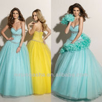 Sky Blue Crystal Neckline Sweep Train Ball Gown Quinceanera Dress Pageant Gown