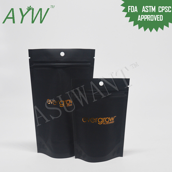 Matte Black Plastic Stand Up Zipper Bag Bulk K2 Weed From China For Medical Industry