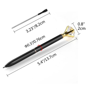 Multi Color Pen with Big Diamond Promotional Metal pens with 4 Pack Navy Blue Velvet Bags for School Office