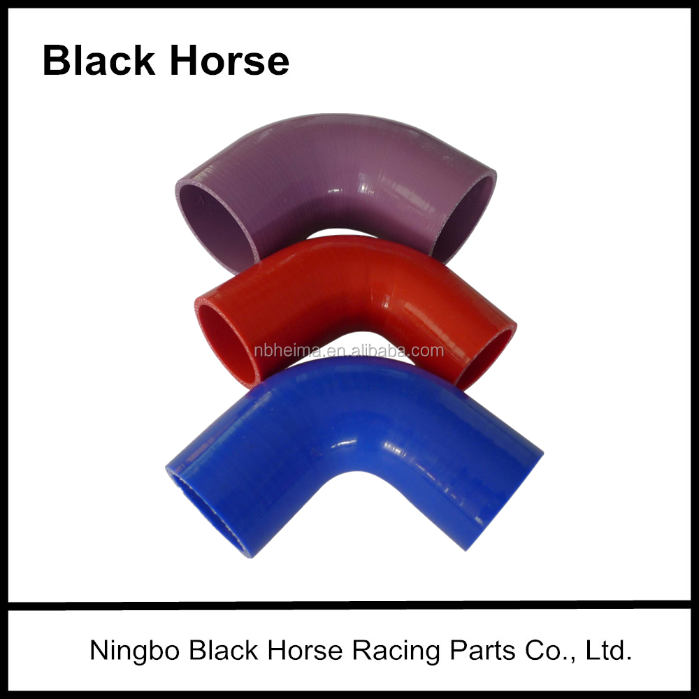 BLACKHORSE-RACING 45 Degree Elbow Silicone Hose Black, 76mm