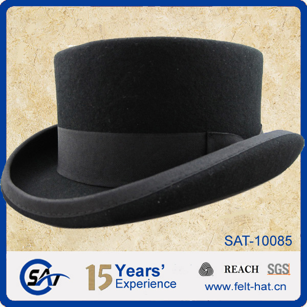 Formal Headwear 100% Wool Felt Low Crown Top Hat - Buy Low Crown Top ... 410ffac03a2
