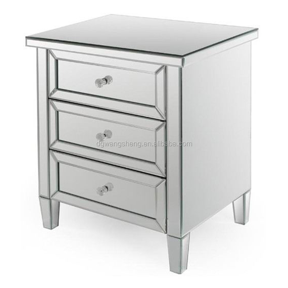 Silver Edge Mirrored Nightstand Table With 3 Drawers