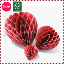 party products heart shaped honeycomb tissue ball decorative balls for ceiling