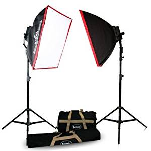 Britek#FK3200 Professional Photography 3200w Fluorescent Lighting Kit with 2 Fluorescent Light Bank+2 Softbox+16 Fluorescent Lamp+2 Giant Light Stand+2 Carrying Bag