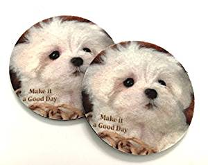 Make it a good day - Adorable puppy car coasters - Makes a great gift -Car coasters for your cars cup holder - Auto Coasters