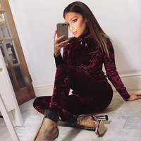 VL001A 2017 Women Two Piece Set Female Winter Tracksuit Velvet Hoodies Top + Pants Ladies Long Sleeve Outfit Femme Sporting Suit