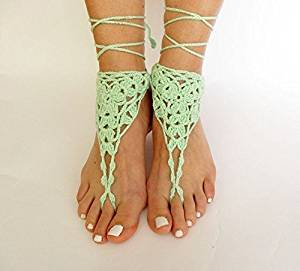 Beach Wedding Sandals,Green Wedding Accessory,Sexy Beach Sandals, Crochet Barefoot Sandals, Barefoot Sandals , Crochet Anklet, Sexy Lace Sandals,Beach,Wedding Footwear, Bridesmaid Sandals (Green-05)